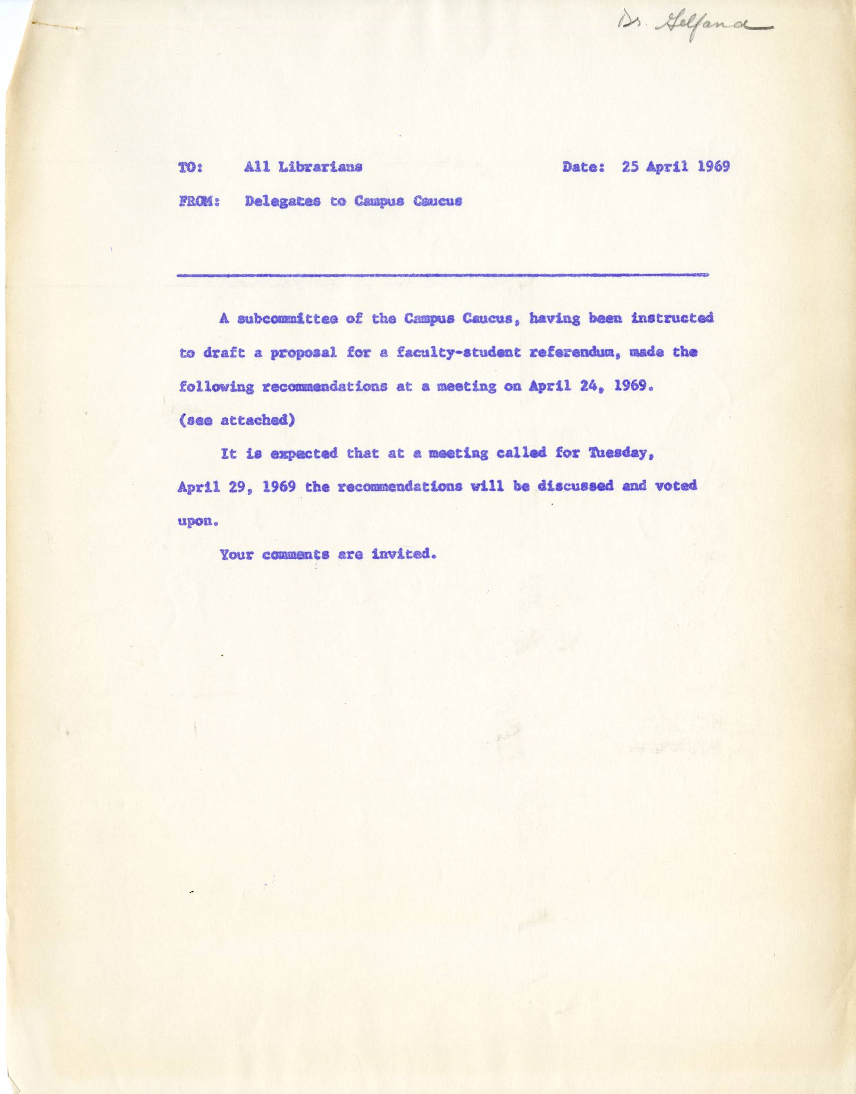 Draft Of Campus Referendum Queens College Civil Rights Archives