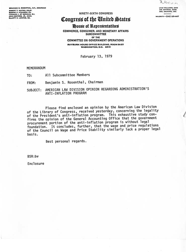 AntiInflation Memorandum Cover Letter  Queens College Archives And