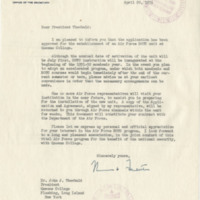 Air Force ROTC Establishment Letter